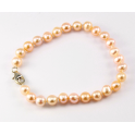 Traditional Bracelet Peach Freshwater Pearl Clasp 925 Sterling Silver Rhodium plated