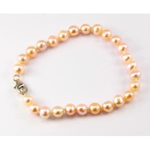 Bracelet traditionnel en perle d'eau douce Pêche Fermoir argent