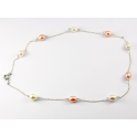 Necklace 925 Sterling Silver Rhodium plated White and Peach Freshwater Pearl