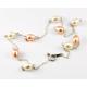 Collier Argent Massif Chainette Perle d'eau douce Blanche et Pêche