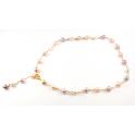Collier Plaqué Or 18 Carats Chaine Perles d'eau douce Pêche et Lavande
