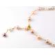 Collier Plaqué Or Chaine Perles Blanche et Pêche