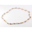 Collier Plaqué Or 18 Carats Perles d'eau douce Lavande et Blanche