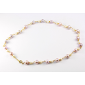 Necklace 18K Gold Plated Chain White and Lavender Freshwater Pearl