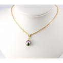 18KGP Gold Plated Pendant Chain Black Freshwater Pearl