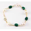 Bracelet 14K Gold Filled Swarovski Emerald Crystal and White Freshwater Pearl