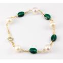 Bracelet Plaqué Or Gold Filled 14 K Swarovski Emeraude et Perle d'eau douce Blanche