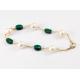 Bracelet Plaqué Or Swarovski Emeraude et Perle Blanche