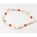 Bracelet 14K Gold Filled Swarovski Faceted Ruby Bead and White Freshwater Pearl