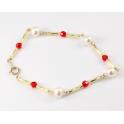 Bracelet Plaqué Or Gold Filled 14 K Swarovski Rouge et Perle d'eau douce Blanche