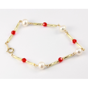 Bracelet Plaqué Or Swarovski Rouge et Perle Blanche