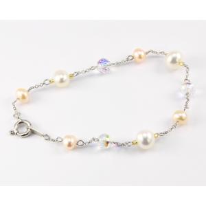 Bracelet Argent massif Swarovski Disco Aurore Boréale  et Perle Pêche