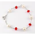 Bracelet Argent Massif Rhodié Swarovski Facettes Rubis et Perle d'eau douce Blanche