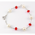 Bracelet Argent massif Swarovski Facettes Rubis et Perle Blanche