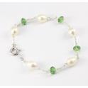 Bracelet Argent Massif Rhodié Swarovski vert et Perle d'eau douce Blanche