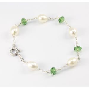 Bracelet Argent massif Swarovski vert et Perle Blanche