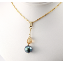 Pendant 14K Gold Filled Swarovski Topaz Crystal and Black Freshwater Pearl