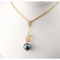 Pendentif Plaqué Or Gold Filled 14 K Swarovski Topaze et Perle d'eau douce Noire