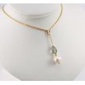 Pendentif Plaqué Or Gold Filled 14 K Swarovski Black Diamond et Perle d'eau douce Blanche