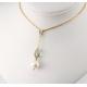 Pendentif Plaqué Or Swarovski Black Diamond et Perle Blanche