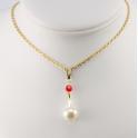 Pendentif Plaqué Or Gold Filled 14 K Swarovski Facettes Rubis et Perle d'eau douce Blanche