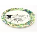 Miroir ovale en nacre blanche et abalone motif Tenue vietnamienne