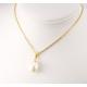Pendentif solitaire Plaqué Or 18 Carats Perle d'eau douce Blanche