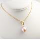 Pendentif solitaire Plaqué Or 18 Carats Perle d'eau douce Lavande