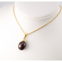 18KGP Gold Plated Pendant Black Freshwater Pearl