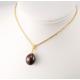 Pendentif solitaire Plaqué Or 18 Carats Perle d'eau douce Noire