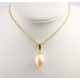 Pendentif solitaire Plaqué Or 18 Carats Perle d'eau douce Pêche