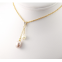 Pendentif Plaqué Or 18 Carats Perle d'eau douce Lavande et Blanche
