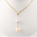 18KGP Gold Plated Pendant Lavender and Peach Freshwater Pearl