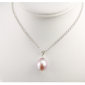 Pendand 925 Sterling Silver Rhodium plated Lavender drop Freshwater Pearl