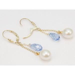 Boucle d'oreille Plaqué Or Perle et Swarovski Blanche et aquamarine