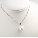 Pendand 925 Sterling Silver Rhodium plated White drop Freshwater Pearl
