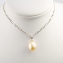 Pendand 925 Sterling Silver Rhodium plated Peach drop Freshwater Pearl