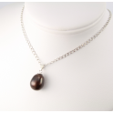 Pendand 925 Sterling Silver Rhodium plated Black drop Freshwater Pearl