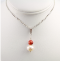 Pendand 925 Sterling Silver Rhodium plated White Freshwater Pearl and Red Coral