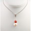 Pendentif Argent Massif Rhodié Perle d'eau douce blanche et corail rouge