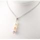 Pendentif Argent Massif Rhodié Triple Perle d'eau douce 3 couleurs naturelles
