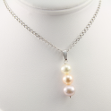 Pendant 925 Sterling Silver Rhodium plated Triple Freshwater Pearl 3 natural colors