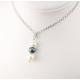 Pendentif Argent Massif Rhodié Triple Perle d'eau douce Noire et Blanche