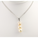 Pendant 925 Sterling Silver Rhodium plated Triple Freshwater Pearl Golden
