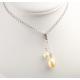 Pendentif Argent Massif Rhodié double Perle d'eau douce ovale Noire et  ronde Blanche