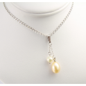 Pendant 925 Sterling Silver Rhodium plated Round and Rice shape Freshwater White and Peach