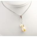 Pendentif Argent Massif Rhodié double Perle d'eau douce ronde Blanche et ovale Pêche