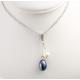 Pendentif Argent Massif Rhodié double Perle d'eau douce ronde Blanche et ovale Noire