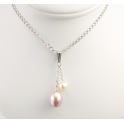 Pendant 925 Sterling Silver Rhodium plated Round and Rice shape Freshwater White and Lavender