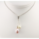 Pendentif Argent Massif Rhodié double Perle d'eau douce ronde Blanche et ovale Lavande
